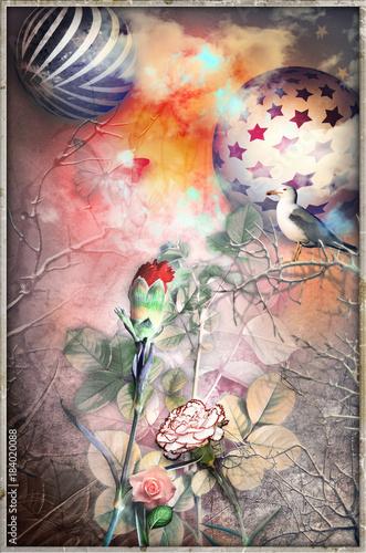 Foto op Plexiglas Imagination Bosco incantato delle favole con fiori,colomba,astri,fiori e garofano rosso