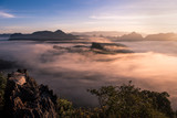 foggy landscape in north of Thailand with twilight sky - 184027493