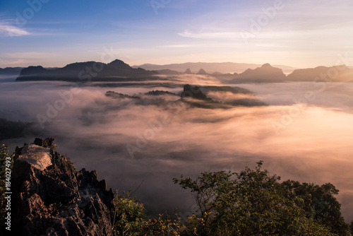 foggy landscape in north of Thailand with twilight sky Poster