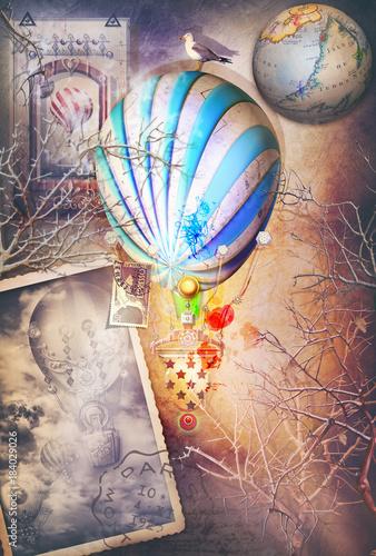 Foto op Plexiglas Imagination Interno surreale e incantato con mongolfiere e mappamondo. Fantasie e immaginazione di viaggio