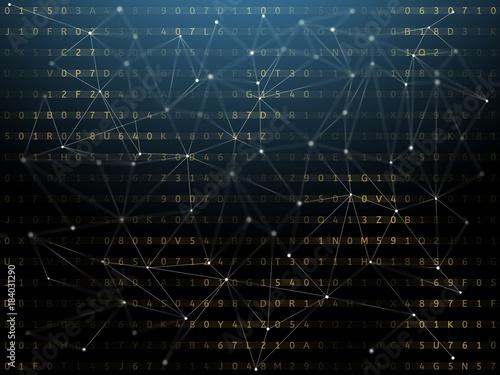 Digital background, blockchain concept.
