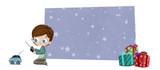 Niño con regalos de cumpleaños o Navidad - 184042263