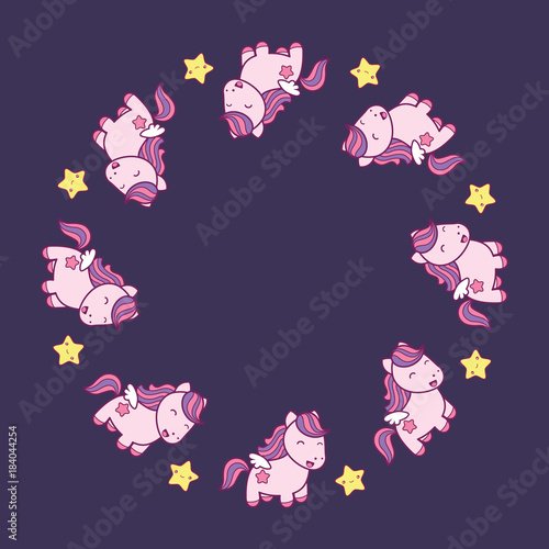 Round frame with cute kawaii style horses and stars. - 184044254