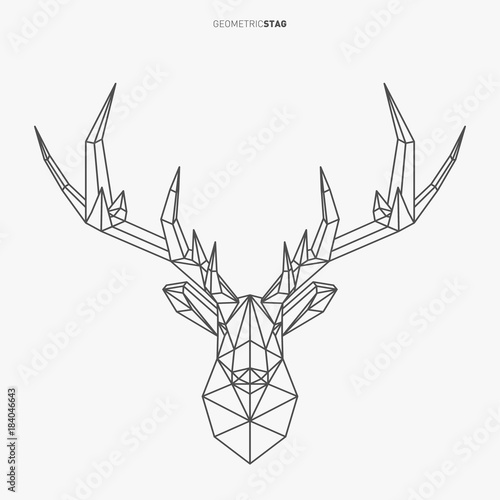 Vector geometric deer line art. Low poly style animal drawing. Stag head and antlers. Modern Christmas symbol.
