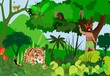 Aboriginal in the jungle, wild jungle scene, tiger, monkeys, birds and trees, exotic animals and plants vector. - 184048422