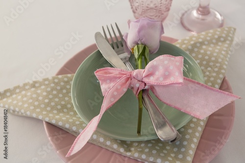 Overhead view of classic table setting