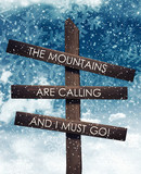 Mountains calling sign under night blue snowy sky 3D Rendering