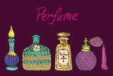 Perfume vintage collection of colorful bottles from different countries (Arabic, German, French, American) with inscription, hand drawn doodle sketch, isolated vector color illustration - 184049249