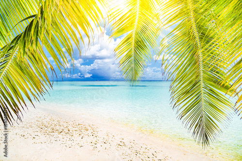 Fotobehang Geel Beautiful beach landscape. Summer holiday and vacation concept. Inspirational tropical beach. Beach background banner