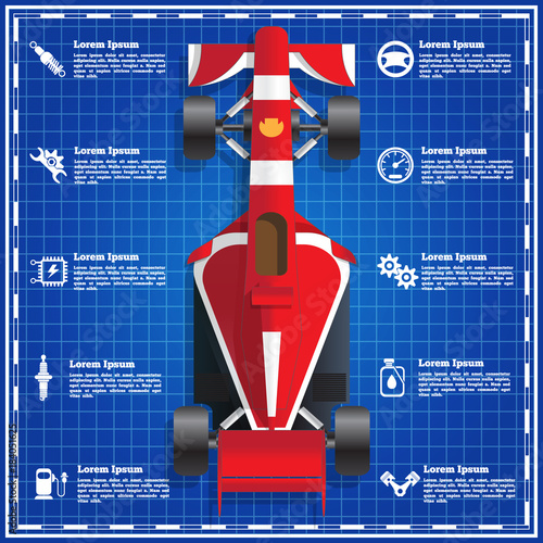 Fotobehang F1 Car service, repair, diagnostic. The template for the presentation on a blue background. Vector illustration.