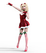 Young beautiful Santa girl with doll face. Short festive dress fur, stockings, shoes. Long blonde hair. Bright make up. Conceptual fashion art. Realistic 3D render illustration. Christmas, New Year.