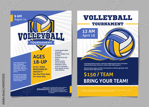 Volleyball tournament posters, flyer with volleyball ball - template vector design