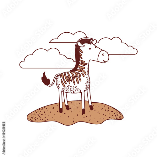 zebra cartoon in outdoor scene with clouds in color sections silhouette vector illustration