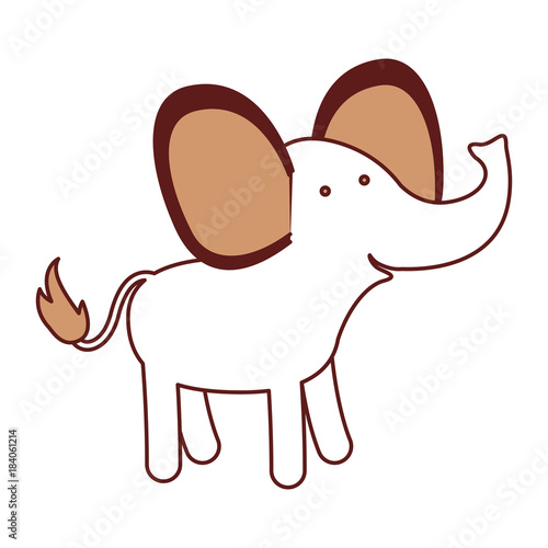 elephant cartoon in color sections silhouette with thick contour vector illustration