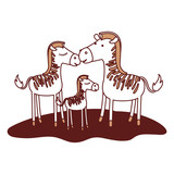 zebras couple and foal over grass in color sections silhouette vector illustration - 184061831