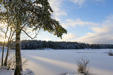 Sunrise on a winter wonderland. Snow covered lake ice with blue sky. - 184063815