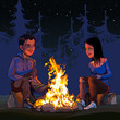 cartoon man and woman sitting by a campfire at night in the woods - 184067063