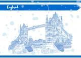 sketch english bridge on the river vector work Blue - 184068868