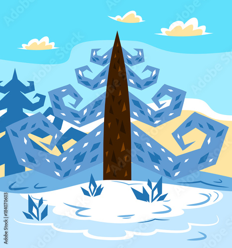 Foto op Canvas Pool Winter landscape with fir trees
