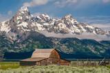 Old barn in Grand Teton Mountains - 184074035