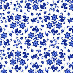 Decorative floral pattern ornate with traditional blue on white ornament in Russian style Gzhe