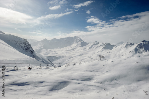 In de dag Bleke violet Alpine winter mountain landscape. French Alps with snow.
