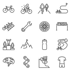 Bicycle riding icon set. cycling linear design. Bike and attributes. Line with editable stroke