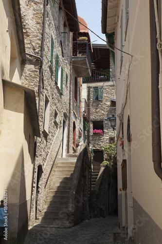 Staande foto Smal steegje Liguria