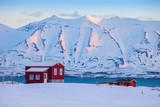 Iceland winter landscape with solitary living house positioned  of the fjord  at dawn (near Akureyri), northern Iceland. - 184083891