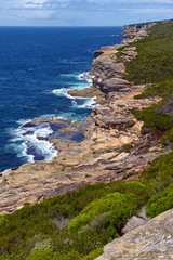 Rugged coastline and ocean view near Sydney Australia