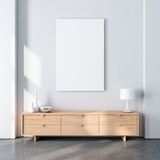 Vertical poster canvas mockup in modern interior with oak wooden bureau and decor. 3d rendering - 184085810