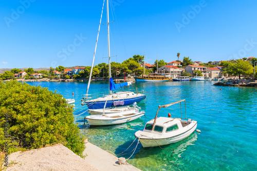 Aluminium Boats anchoring in beautiful bay with turquoise sea water in Razanj port, Dalmatia, Croatia