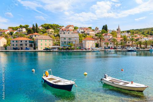 Aluminium Fishing boats in Splitska village with beautiful port, Brac island, Croatia