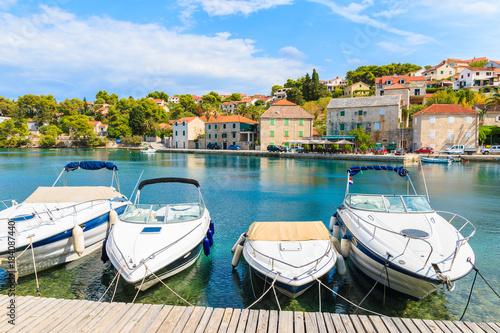 Aluminium Boats in Splitska village with beautiful port, Brac island, Croatia