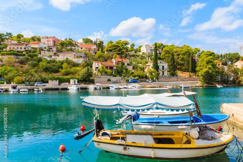 Aluminium Fishing boats in beautiful Splitska port on Brac island, Croatia