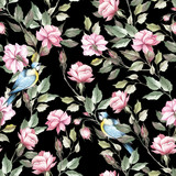 Seamless pattern with roses and bird. Hand draw watercolor illustration - 184094806