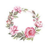 Frame with roses. Hand draw watercolor illustration. - 184094852
