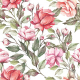 Seamless pattern with roses. Hand draw watercolor illustration - 184094869
