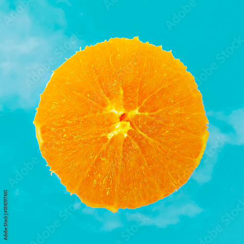 Fresh Orange minimal art Flat lay design - 184097461