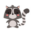 Cute raccoon cartoon icon vector illustration graphic design