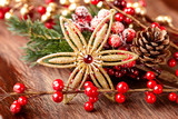 Christmas star on wooden background - 184104874