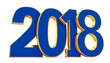 New year 2018 gold and blue lettering on a white background. 3d rendering illustrations.