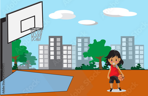 Fototapeta Boy Play Basketball character design cartoon art  and Street Background