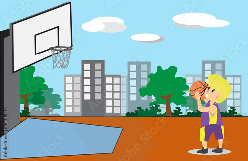 Wall mural Boy Play Basketball character design cartoon art  and Street Background 4