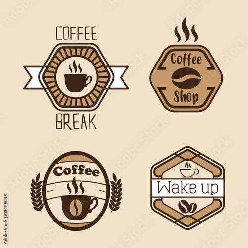set Coffee labels and badges. Retro style. Coffee vintage collection