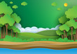 Eco green forest.Save the world and environment concep paper art style.Vector illustration.
