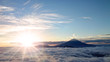 Leinwandbild Motiv 富士山と日の出と雲海
