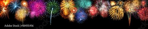 Foto op Canvas Panoramafoto s Großes Feuerwerk an Silvester als Panorama Hintergrund