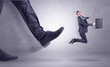 Quadro Foot kicking, businessman flying