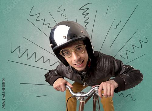 Extreme cyclist with bike